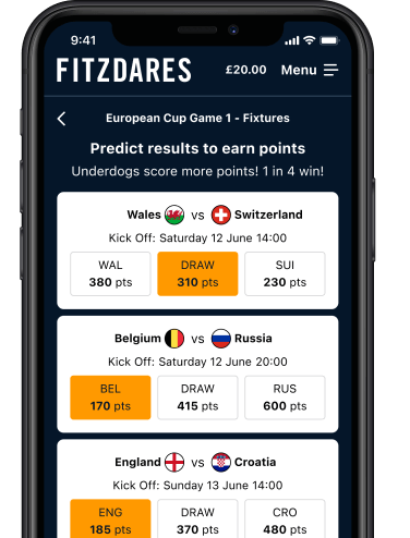 Iphone with screenshot of Fitzdares fantasy game